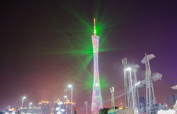 Guangzhou tower at night light show Royalty Free Stock Photo