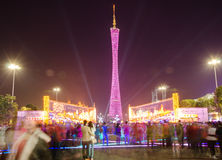 Guangzhou tower at night light show Royalty Free Stock Images