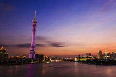 Guangzhou tower at night Stock Photos