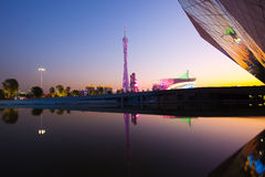 Guangzhou Tower and Opera House in night city Stock Photos