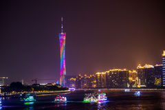 Guangzhou Tower and Pearl River night view Stock Photography