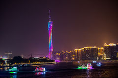Guangzhou Tower and Pearl River night view Stock Photos