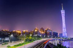 Guangzhou Tower and streetcar track Stock Images