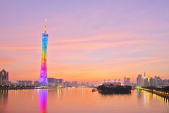 Guangzhou tower at the sunset Stock Photography