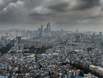 Guangzhou Tower. A whole scene of Guangzhou tower and the urban area stock images