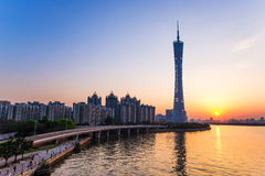 Guangzhou-Turm- oder -bezirkturm, formal Guangzhou Fernsehen astronomisch und Besichtigungs-Turm stockbild