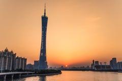 Guangzhou-Turm- oder -bezirkturm, formal Guangzhou Fernsehen astronomisch und Besichtigungs-Turm stockfotos