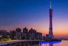 Guangzhou-Turm- oder -bezirkturm, formal Guangzhou Fernsehen astronomisch und Besichtigungs-Turm stockbilder