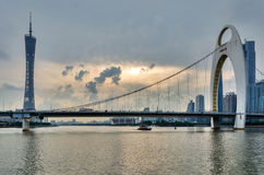 Guangzhou TV Tower and LiedeBridge Royalty Free Stock Photography