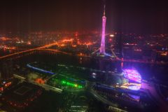 Guangzhouhorizon bij nacht stock foto's