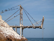 Guano Collection Structures At Islas Ballestas Stock Photography