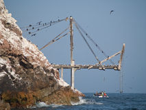 Guano collection structures at Islas Ballestas in Stock Photography
