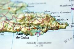 Guantanamo auf einer Karte lizenzfreie stockfotos