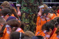 Guantanamo Bay. In London, crowds of protesters gathered outside the American embassy demanding the closure of the US prison camp in Guantanamo Bay, Cuba Stock Photo