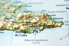 Guantanamo on a map. Close-up of Guantanamo, Cuba, on a map Royalty Free Stock Photos