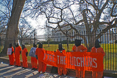 Guantanamo Protesters. Uighur Guantanamo protesters at the White House Royalty Free Stock Photo