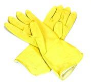 Guante amarillo de la protección aislado Imagen de archivo libre de regalías