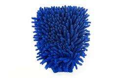 Guante azul del producto de limpieza de discos de Microfiber Imágenes de archivo libres de regalías