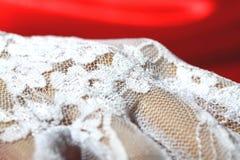 Guante blanco D del cordón de la mujer que lleva Foto de archivo libre de regalías