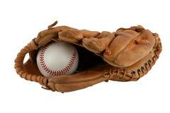 Guante de béisbol aislado con la bola imágenes de archivo libres de regalías