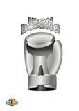 Guante de boxeo del hierro Club del boxeo del logotipo Taza del metal Foto de archivo