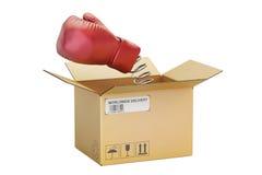 Guante de boxeo que sale de una caja de cartón, representación 3D Imagenes de archivo