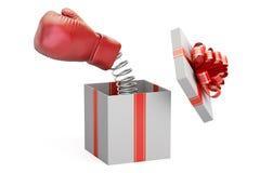 Guante de boxeo que sale de una caja de regalo, representación 3D Imagen de archivo libre de regalías