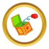 Guante de boxeo rojo en icono de la primavera stock de ilustración