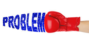 Guante de boxeo y problema de la palabra Foto de archivo libre de regalías