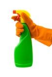 Guante de la botella y del caucho del aerosol foto de archivo libre de regalías