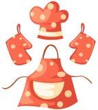 Guante de la cocina y sombrero del delantal y del cocinero Imagen de archivo libre de regalías