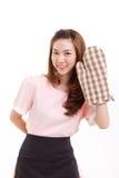 Guante de la manopla del panadero de la mujer que lleva para el concepto que cuece Foto de archivo