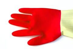 Guante rojo del trabajo Foto de archivo libre de regalías