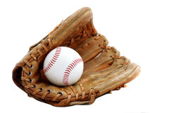 Guante y bola de béisbol Fotografía de archivo libre de regalías