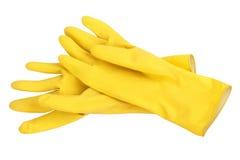 Guantes amarillos de la limpieza Imagen de archivo
