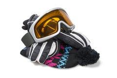 Guantes, casquillo y gafas del esquí Imagen de archivo