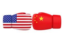 Guantes de boxeo con los E.E.U.U. y las banderas de China libre illustration