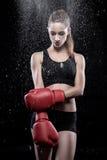 Guantes de boxeo de la mujer que desgastan hermosa Imágenes de archivo libres de regalías
