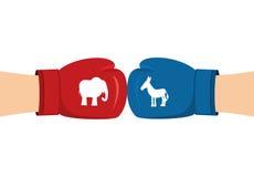 Guantes de boxeo del elefante y del burro Símbolos de la pieza política de los E.E.U.U. stock de ilustración