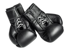 Guantes de boxeo negros Fotografía de archivo libre de regalías
