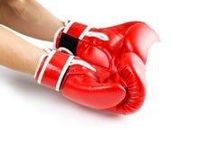 Guantes de boxeo rojos Dos deportes de los guantes Aislado en un backgr blanco imagen de archivo libre de regalías