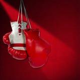 Guantes de boxeo rojos y blancos Imagen de archivo libre de regalías