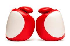 Guantes de boxeo rojos y blancos Fotografía de archivo