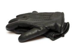 Guantes de cuero negros de los pares Foto de archivo