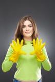 Guantes de goma amarillos Imagen de archivo
