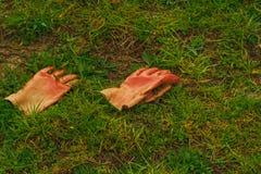 Guantes de goma de trabajo en la hierba Imagen de archivo