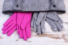 Guantes de lana con el bolso para la mujer en viejo fondo de madera Imagen de archivo