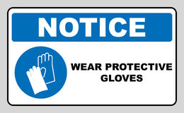 Guantes del desgaste - muestra de seguridad, señal de peligro stock de ilustración