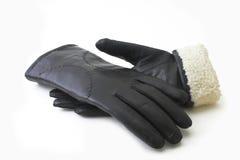 Guantes negros de cuero Imagen de archivo