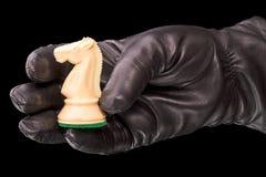 Guantes negros y caballero blanco del ajedrez foto de archivo